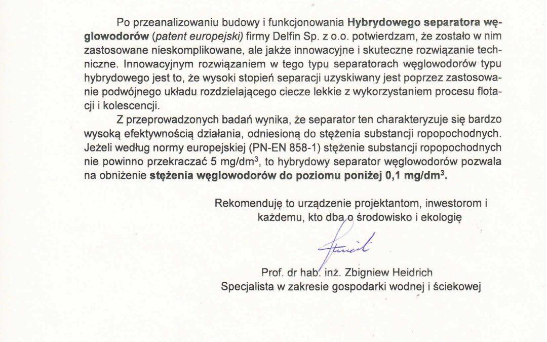 Rekomendacje prof. dr hab. inż. Zbigniewa Heidricha